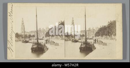 Prins Hendrikdok, Middelburg, with the Abbey tower (nicknamed Lange Jan) in the background, harbor, Pieter Oosterhuis (attributed to), 1852 - 1865 - Stock Photo