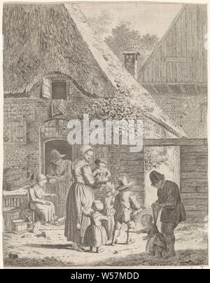 Farmers and children at farm, Farm with a man leaning on a lower door. A woman is sitting in front of the door and is feeding chickens. On the path in front of the farm a woman with four children, one of whom she holds in her arms. Right in the foreground a man with a child on a leash, mother and child (s), woman and child (s) (family group), with father and child (s), man and child (s) (family group), learning to walk, the first steps, Johannes Christiaan Janson, 1778 - 1823, paper, etching, h 209 mm × w 163 mm - Stock Photo