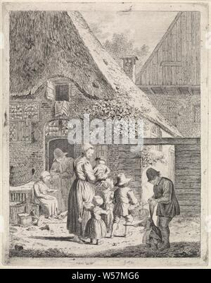 Farmers and children at farm, Farm with a man leaning on a lower door. A woman is sitting in front of the door and is feeding chickens. On the path in front of the farm a woman with four children, one of whom she holds in her arms. Right in the foreground a man with a child on a leash. Show has been edited even more than previous states, mother and child (s), woman and child (s) (family NUMBER of children), father and child (s), man and child (s) (family group), learning to walk, the first steps, Johannes Christiaan Janson, 1778 - 1823, paper, etching, h 224 mm × w 176 mm - Stock Photo