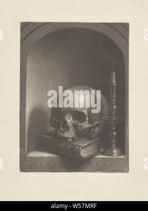 Vanitas still life in a niche Memento Mori (title on object), Still life in a niche with a skull on a book and a smoking candle a candlestick., Wallerant Vaillant (mentioned on object), 1658 - 1677, paper, h 224 mm × w 163 mm - Stock Photo