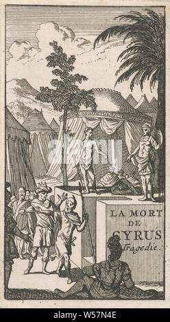 Title page for 'La Mort de Cyrus', in: P. Quinault, Le theater, part I, 1697, (story of) Cyrus king of Persia - death of person from classical history, on the scaffold or place of execution, Caspar Luyken, Amsterdam, paper, etching, h 119 mm × w 66 mm - Stock Photo