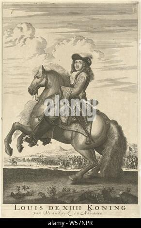 Equestrian portrait of Louis XIV, King of France Louis the XIIII King of Vrankryk and Navarre (title on object), equestrian state-portrait, Louis XIV (King of France), Jan Luyken, Amsterdam, 1685, paper, etching, h 282 mm × w 182 mm - Stock Photo