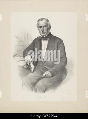 Portrait of an unknown man, The subject is turned away from his writing table. He has a book in his right hand, his index finger is between the pages. He is wearing a tie. Under the portrait are signature, historical persons (half-length portrait), writing table, writing desk, Adrianus Johannes Ehnle (mentioned on object), Haarlem, 1829 - 1863, paper, h 555 mm × w 442 mm - Stock Photo