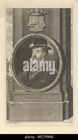 Portrait of King Philip II of Spain, Philip II, King of Spain. Above the portrait the coat of arms of the Habsburgs. The print has as a caption a French poem about his life, Philip II (King of Spain), Pieter van Gunst (mentioned on object), Amsterdam, c. 1669 - 1731, paper, etching, h 317 mm × w 182 mm - Stock Photo