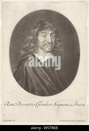 Portrait of René Descartes, René Descartes, French philosopher and mathematician, Jacob Gole (mentioned on object), Amsterdam, 1670 - 1724, paper, engraving, h 255 mm × w 180 mm - Stock Photo