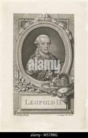 Portrait of Leopold II, Archduke of Austria, Grand Duke of Tuscany, Prince of the Southern Netherlands, King of Bohemia and Emperor of the Holy Roman Empire. Depicted in an oval frame with oak leaf decoration. On the console a crown, scepter and apple of the kingdom, Leopold II (Emperor of Austria), Sophia Wilhelmina Evans (mentioned on object), Rotterdam, 1791, paper, h 187 mm × w 123 mm - Stock Photo