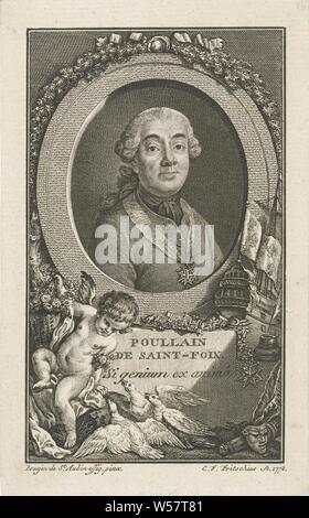 Portrait of Germain-François Poullain de Saint-Foix, Portrait bust in oval to the right of Germain-François Poullain de Saint-Foix, bareheaded. A ribbon with the cross of the order of the Holy Spirit hangs around his neck. The massive oval frame is decorated with branches and a ribbon and stands on a base with the name of the person portrayed and a Latin saying. To the right of the portrait are a sailing ship, a pot with writing spring and a Maltese cross on a chain. Entirely in the foreground a putto with a flower basket sees three pigeons standing in front of him. On the right on the ground - Stock Photo