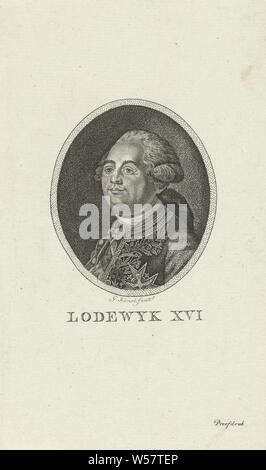 Portrait of Louis XVI, King of France (1754-93). Bust to the left in an oval frame, Louis XVI (King of France), Gerrit Konsé (mentioned on object), Amsterdam, 1792 - 1808, paper, h 190 mm × w 113 mm - Stock Photo