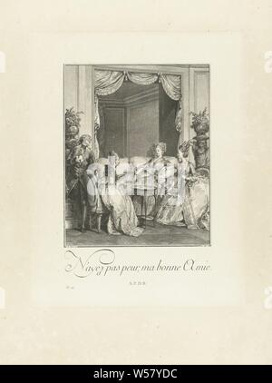 Le Monument du Costume Interior with three ladies and a young man in conversation N'ayez pas peur, ma bonne Amie. (title on object) Le Monument du Costume. Second suite d'estampes, pour servir à l'histoire des Modes et du Costume en France, Dans le dix-huitième siècle (series title) French costume prints from the eighteenth century (series title), Céphise is expected. She is lying in a negligee, in a beautifully furnished room on a sofa. Two elegantly dressed ladies in 'robe à la française' sit with her, who express her courage for the impending birth. The lady on the right wears the official - Stock Photo