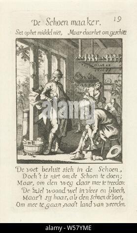 Shoemaker De Schoen maaker (title on object) The Menselyk Bedryf (series title), shoe-maker, cobbler, handicrafts, craftsman at work, Jan Luyken, Amsterdam, 1694, paper, etching, h 140 mm × w 82 mm - Stock Photo