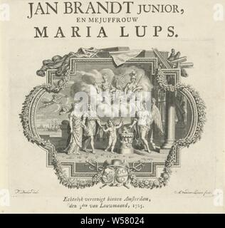 Allegory of marriage Marriage announcement of Jan Brandt junior and Maria Lups, Allegory of marriage, placed in a graceful list with the arms of the Brandt and Lups families. A couple is led by Amor to a sacrificial column on which there are burning hearts. In the sky, Juno and Minerva watch from a cloud, 'Castitimrimoniale', 'Fede maritale', 'Matrimonio' (Ripa), Juno Iuga, Juno Pronuba, protectress of marriage, (story of) Minerva (Pallas, Athena), Adolf van der Laan (mentioned on object), 1725, paper, letterpress printing, h 133 mm × w 175 mm - Stock Photo