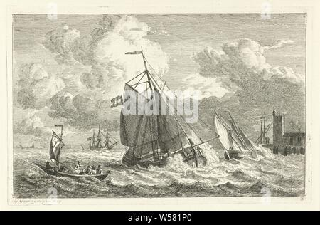 Various ships on rough water Various ships on the water (series title), Various sailing ships on rough water. On the right side a house with a tower with two figures next to it. On the left in the background the contours of a church tower and other buildings. This print is part of a series of six prints with various ships, ships (in general) - CC - more than one ship, Gerrit Groenewegen (mentioned on object), Rotterdam, 1807, paper, etching, h 150 mm × w 230 mm - Stock Photo