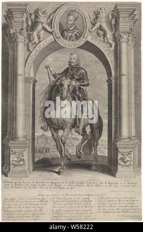 Equestrian portrait of Philip IV, king of Spain, under the triumphal arch Maison d'Avstriche (title on object), in armor. He carries a chain with the Order of the Golden Fleece. He is holding a command staff in his right hand. It is under a triumphal arch. On the arc the portrait of Charles V, in armor and with a chain with the Order of the Golden Fleece. The portrait is set in an oval frame with a three-line caption in Latin and is flanked by two lions. In the background a view of a city and a procession and below that a five-line caption in French. In the margin a three-line caption in Latin - Stock Photo
