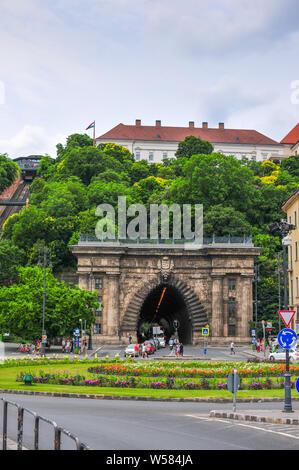 Tunnel by Szechenyi chain bridge in Budapest Hungary