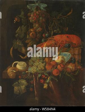 Still Life with Fruit and a Lobster, Still life with fruits and a lobster. A fruit festival hangs on the wall. On the table a Chinese plate with grapes, peach and apricots. Left a peeled lemon. All kinds of insects and snails among the fruits. Old copy after the original in Dresden., Jan Davidsz. de Heem (copy after), 1640 - 1700, canvas, oil paint (paint), h 70 cm × w 59 cm d 10.5 cm - Stock Photo