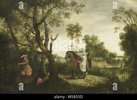 The Punished Robber, The punished robber. On the road between Sint Truiden and Thienen a woman was robbed of her clothing by a Spanish rider, she uses a moment of inattention to mount and flee his horse., Sebastiaan Vrancx, 1600 - 1647, panel, oil paint (paint), h 45.5 cm × w 65 cm d 5 cm - Stock Photo