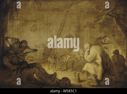 The End of Misery, Performance titled 'Ellenden End'. In the shape of a skeleton, Death bends over a sleeping old man in the interior of a farmhouse., Adriaen Pietersz. van de Venne, 1632, panel, oil paint (paint), support: h 34.8 cm × w 49.8 cm d 7 cm - Stock Photo
