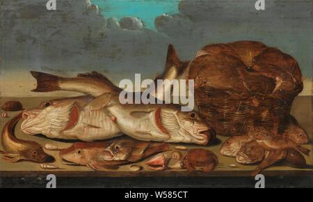 Still Life with Fish, Fish Still Life. Various types of fish, shells and a crab are displayed on a wooden tray. On the right a basket with plaice, in the background clouds., Willem Ormea, 1638, panel, oil paint (paint), h 54.5 cm × w 92 cm d 8.5 cm - Stock Photo