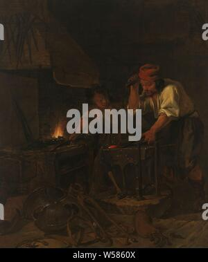 The Weaponsmith, The gunsmith. a blacksmith and his servant working in a forge. The blacksmith hits the anvil with a hammer on a piece of iron. The servant is standing by the stove. In the foreground are tools and pieces of armor., Gabriel Metsu (mentioned on object), 1650 - 1660, canvas, oil paint (paint), h 101.7 cm × w 85.3 cm × t 3.2 cm d 7 cm - Stock Photo