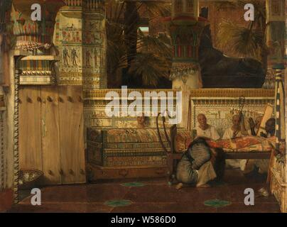 The Egyptian Widow, Interior of an Egyptian temple with a kneeling mourning widow. Priests sing and play harp by the body of the deceased, mourning the dead, widow, Lourens Alma Tadema, 1872, panel, oil paint (paint), h 74.9 cm × w 99.1 cm - Stock Photo