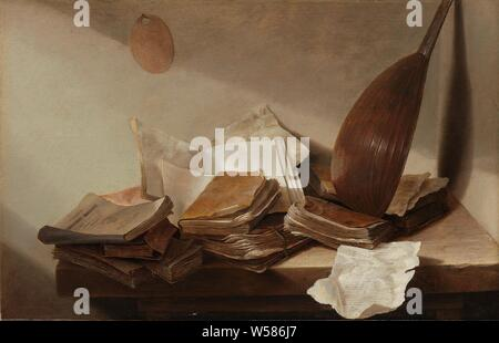 Still Life with Books, Still life: there are various books and papers on a wooden table in the corner of a room. A lute is leaning against the wall in the corner, 'Vanitas' still life, book, lute, and special forms of lute, eg .: theorbo, Jan Davidsz. de Heem, 1625 - 1630, panel, oil paint (paint), h 26.5 cm × w 41.5 cm d 5.5 cm - Stock Photo