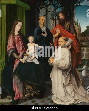 Virgin and Child Enthroned, with Saints Jerome and John the Baptist and a Carthusian Monk Throning madonna with saints Hieronymus and John the Baptist and a kneeling Carthusian monk, Throning madonna with saints Hieronymus and John the Baptist and a kneeling Carthusian monk. On the left, Mary is sitting on a throne with the Christ child on his lap. The child has an open book on her lap and a rosary in her hand. In addition, Saint Jerome and John the Baptist, kneeling in front a Carthusian monk. The Lamb of God on the right for a view of a garden, Mary sitting or enthroned, the Christ-child in