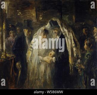 Jewish Wedding, A Jewish wedding. The bride and groom are under the prayer rug, the groom slides the ring around his bride's finger. On the left an old man in a top hat by a burning candle, the wedding guests are surrounded by the couple., Jozef Israels, 1903, oil paint (paint), canvas, h 137 cm × w 148 cm - Stock Photo