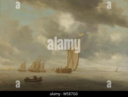 Sailing vessels on an inland body of water, View of a vast inland waterway or lake with barges. In the foreground two people in a rowing boat, in the middle a spring ship. On the left on the horizon a spire and the contours of some houses, sea (seascape), sailing-ship, sailing-boat, Salomon van Ruysdael, 1630 - 1670, panel, oil paint (paint), h 50 cm × w 69 cm d 7.7 cm - Stock Photo