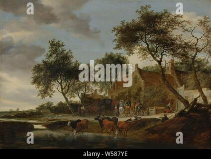 The watering place, Stopping place. A few cars and riders stop in front of an inn to rest. In the foreground, cows drink from a ditch, in addition a shepherd and a few chickens., Salomon van Ruysdael, 1660, panel, oil paint (paint), h 61 cm × w 85 cm d 9.3 cm - Stock Photo