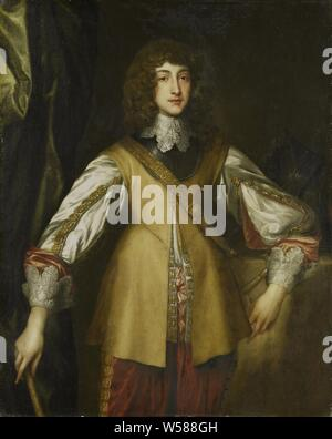 Prince Rupert (1619-1682), Count Palatine of Rhine, Portrait of Prince Ruprecht, Palatinate Count on the Rhine. Knee, standing with command staff in the right hand. Copy to the original in England, historical persons, Netherlands, Germany, Prinz Ruprecht, Anthony van Dyck (copy after), 1630 - 1699, canvas, oil paint (paint), h 127.5 cm × w 102 cm d 8 cm - Stock Photo