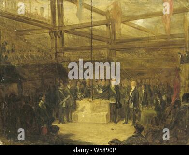 Ceremony of Scottish Freemasons, Ceremony of Scottish Freemasons. The ritual depicted here is the shaking of wine and oil on the stone on which lies corn. The scene is set in a construction site, under beams., Consecration, Freemasonry, building site, Scotland, anonymous, England, 1840 - 1870, cardboard, oil paint (paint), h 35.5 cm × w 45.7 cm d 3.5 cm - Stock Photo