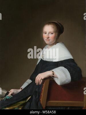 Portrait of Maria van Strijp Maria van Strijp (1627-1707), wife of Eduard Wallis, Portrait of Maria van Strijp (1627-1707), wife of Eduard Wallis. Maria van Strijp, Johannes Cornelisz. Verspronck, 1652, panel, oil paint (paint), painting, h 97 cm × w 75 cm d 5.5 cm - Stock Photo