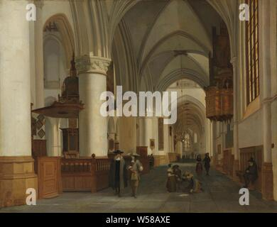Interior of the Church of St Bavo in Haarlem, Interior of the St Bavo Church in Haarlem. On the right the small organ behind the pulpit., Job Adriaensz Berckheyde, 1674, canvas, oil paint (paint), h 52 cm × w 67.5 cm - Stock Photo