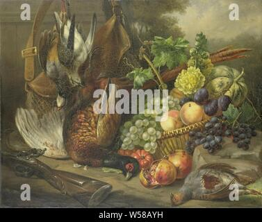 Still life, Still life with fruit and poultry. In the middle a wicker basket with grapes, plums, peaches, a melon, pomegranates and a branch of hollyhock. There are also several dead birds, including a pheasant. Left in the foreground a shotgun, left behind a weitas., Elisabeth Iosetta Hoopstad, 1842, canvas, oil paint (paint), h 74.1 cm × w 92.8 cm × t 3.6 cm d 10.5 cm - Stock Photo