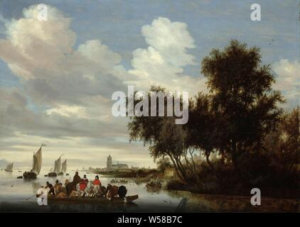 River Landscape with Ferry, River Landscape with a ferry, ferry (number of persons, traffic and transport), river, horse, cow, sailing-ship, sailing-boat, Salomon van Ruysdael, 1649, oil paint (paint), panel, painting, h 91 cm × w 126 cm h 116.5 cm × w 152 cm - Stock Photo