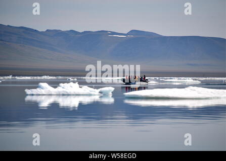 Russia. 13th July, 2019. CHUKOTKA, RUSSIA - JULY 13, 2019: Tourists visit Herald Island, part of the Wrangel Island State Nature Reserve in the Arctic Sea. Yuri Smityuk/TASS Credit: ITAR-TASS News Agency/Alamy Live News - Stock Photo