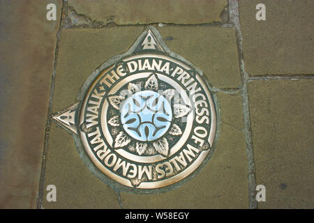 memory of Princess Diana on the pavement of a sidewalk - Stock Photo