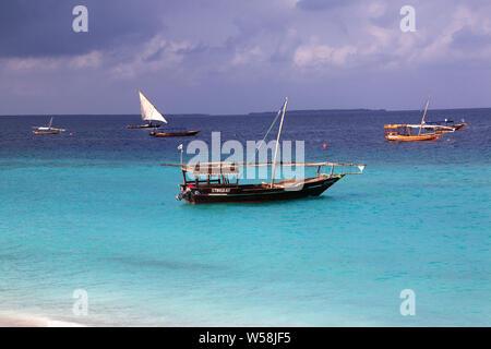 Boats on Nungwi beach of Zanzibar, Tanzania