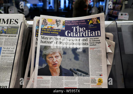 'May swipes at 'rancour and hatred' of Brexit absolutists' Guardian newspaper headline front page on newsstand 18 July 2019 London England UK - Stock Photo