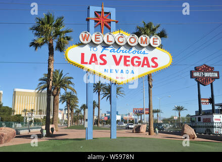The famous Welcome to Las Vegas sign on the entrance to the city on Las Vegas Boulevard, Nevada - Stock Photo