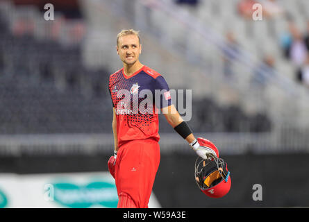Emirates Old Trafford Manchester, UK. 26th July, 2019. Vitality Blast T20 Cricket; Lancashire Lightning versus Worcestershire Rapids; Liam Livingstone of Lancashire Lightning rues getting out to a catch on the boundary for 21 runs Credit: Action Plus Sports/Alamy Live News - Stock Photo