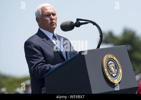 Vice President Mike Pence speaks during a Full Honors Welcome Ceremony for Secretary of Defense Dr. Mark T. Esper, at the Pentagon, Washington, D.C. July 25, 2019, July 25, 2019. (DoD photo by Lisa Ferdinando). () - Stock Photo