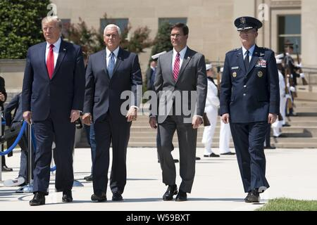 U.S. President Donald J. Trump, Vice President Mike Pence, Secretary of Defense Dr. Mark T. Esper and Vice Chairman of the Joint Chiefs of Staff Air Force General Paul J. Selva arrive for a Full Honors Welcome Ceremony for Esper, at the Pentagon, Washington, D.C. July 25, 2019, July 25, 2019. (DoD photo by Lisa Ferdinando). ()