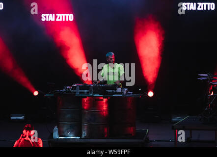 Naples, Italy. 26th July, 2019. The italian DJ Slait seen at the concert of singer and songwriter Maurizio Pisciottu known as Salmo during the 'Playlist Summer Tour' at Noisy Fest in Naples. Credit: SOPA Images Limited/Alamy Live News - Stock Photo