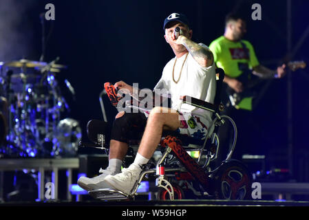 Napoli, Italy. 26th July, 2019. The Italian rapper Maurizio Pisciottu aka Salmo performing live on stage for his 'Playlist' summer tour concert in Napoli at the Arena Flegrea. Credit: Paola Visone/Pacific Press/Alamy Live News - Stock Photo