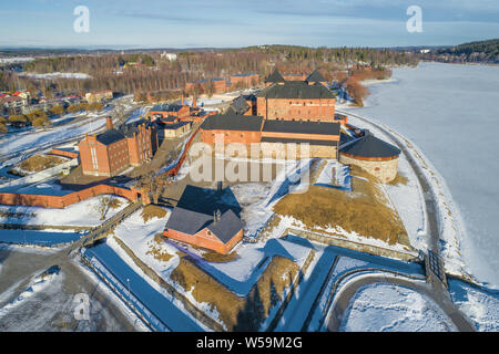 The ancient fortress Hameenlinna on a sunny March morning (shooting from a quadcopter). Finland - Stock Photo
