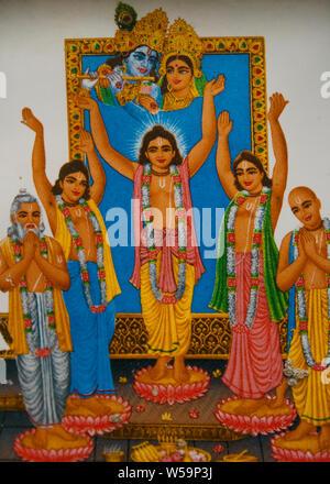 Chaitanya Mahaprabhu with Nityananda, and of Bhaktivedanta Swami Prabhupada, Bakhkhali, West Bengal, India, 20 August 2008 - Stock Photo