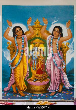 Chaitanya Mahaprabhu with Nityananda, of Krishna with Radha, Keshabpur, West bengal, 13 november 2018 - Stock Photo