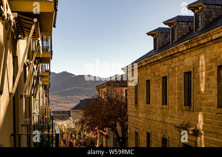 View of old buildings on a holiday in the city of El Escorial. Madrid Spain - Stock Photo