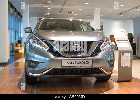 ST. PETERSBURG, RUSSIA - JULY 09, 2019: The new Nissan Murano (2019) a fullface close up in salon of the official dealer - Stock Photo